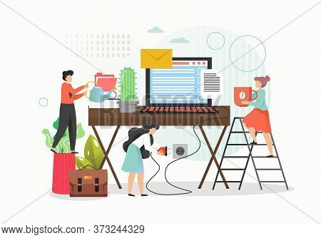 Work From Home Concept Vector Flat Illustration