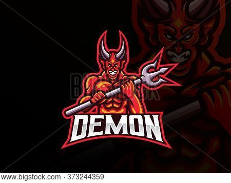 Demon Mascot Sport Logo Design. Devil Mascot Vector Illustration Logo. Evil Mascot Design, Emblem De