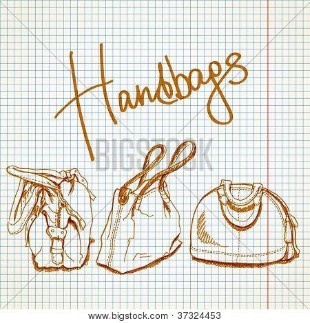 Vector sketch handbags