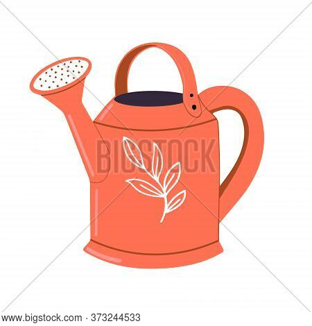 Red Metal Watering Can Isolated On White Background.a Garden Tool Or Agricultural Implement Used For