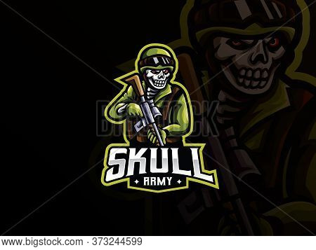 Skull Military Mascot Sport Logo Design. Zombie Army Mascot Vector Illustration Logo. Death Army Mas