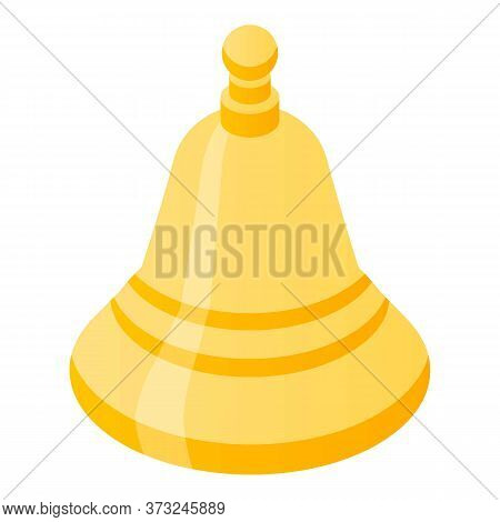 Gold Bell Notification Icon. Isometric Of Gold Bell Notification Vector Icon For Web Design Isolated
