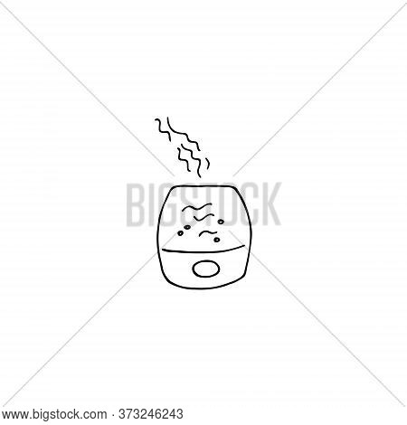 Air Humidifier Icon. Humidity Control Sign. Hand Drawn Linear Vector Illustration.