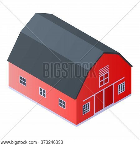 Red Farm Barn Icon. Isometric Of Red Farm Barn Vector Icon For Web Design Isolated On White Backgrou