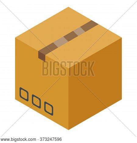 Carton Parcel Box Icon. Isometric Of Carton Parcel Box Vector Icon For Web Design Isolated On White