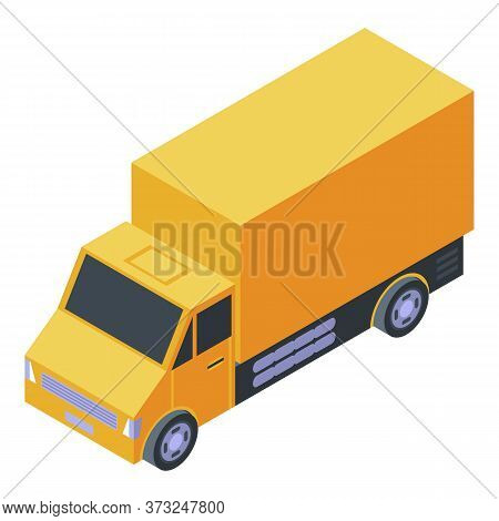 Courier Truck Delivery Icon. Isometric Of Courier Truck Delivery Vector Icon For Web Design Isolated