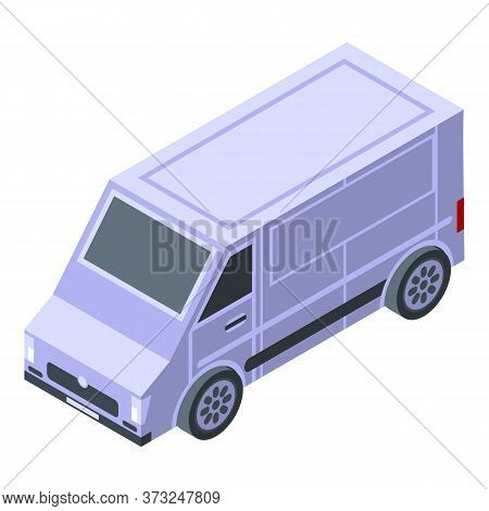 Courier Van Icon. Isometric Of Courier Van Vector Icon For Web Design Isolated On White Background