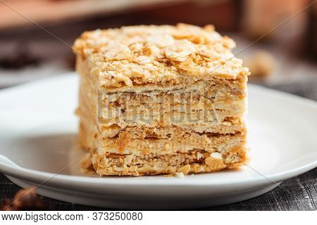 Closeup On Cake Made Of Thin Crispy Layers And Cream Napoleon, Horizontal
