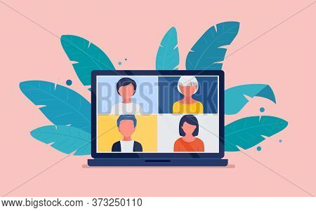 Virtual Meeting Via Video Conference On A Laptop Screen. Conference Video Call, Work At Home. Vector