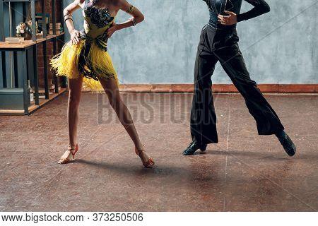 Ballroom Dancing. Young Couple Ballroom Dancers. Rumba Dance.