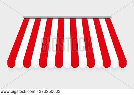 Red And White Canopy For Market Or Shop. Red And White Canopy For Cafe. Isolated On Gray Background.