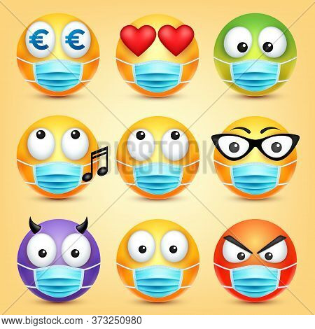 Emoticons, Emoji Vector Collection. Cartoon Yellow Face With Medical Mask. Facial Expressions And Em