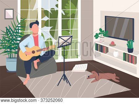 Guitarist At Home Flat Color Vector Illustration. Man Play Musical Instrument. Pastime With Music Le