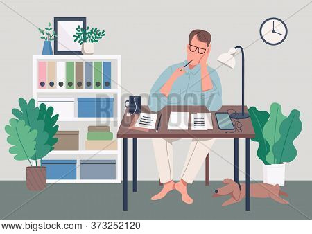 Writer At Home Flat Color Vector Illustration. Journalist Sit At Desk. Man Write Novel. Creative Hob