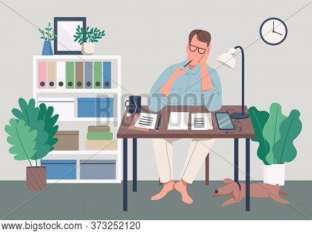 Writer At Home Flat Color Vector Illustration. Journalist Sit At Desk. Man Write Novel. Creative Hob