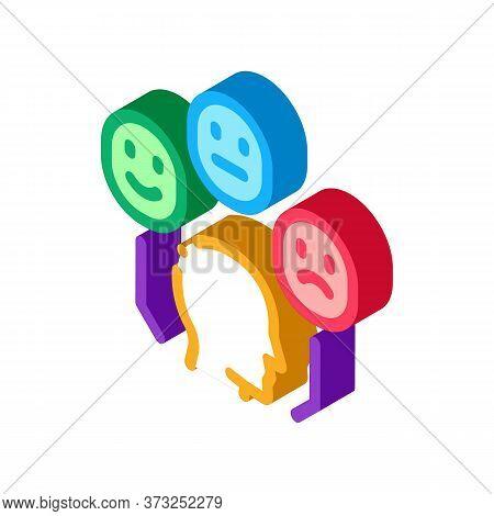 Positive Neutral Negative Human Feedback Icon Vector. Isometric Positive Neutral Negative Human Feed
