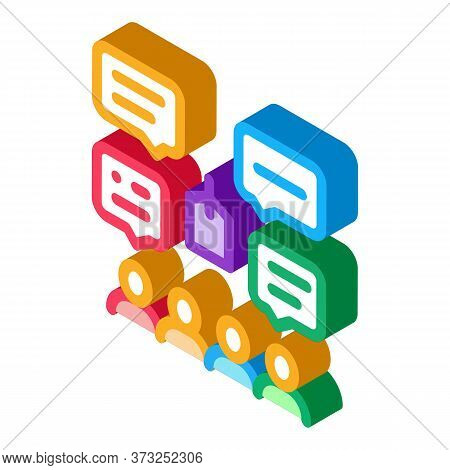 People Discuss Price Icon Vector. Isometric People Discuss Price Sign. Color Isolated Symbol Illustr