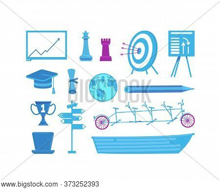 Business And Education Flat Color Vector Objects Set. Target, Mortarboard, Trophy. University And Ca