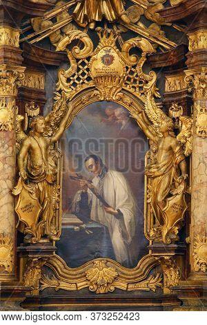 ZAGREB, CROATIA - NOVEMBER 12, 2012: Saint Aloysius Gonzaga, altar in the Franciscan Church of St. Francis Xavier in Zagreb