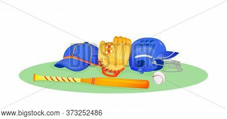 Baseball Gear Flat Concept Vector Illustration. Bat And Ball For Softball. Protection Helmet For Gam