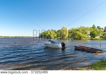 Mragowo, Poland - June 1, 2020: View On Juno Lake.