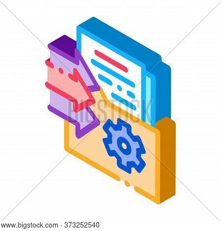 Document Adding In Folder Icon Vector. Isometric Document Adding In Folder Sign. Color Isolated Symb