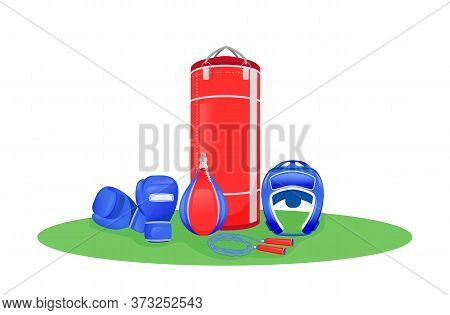 Boxing Center Flat Concept Vector Illustration. Gym To Exercise. Kickboxing Event. Fighter Practice.