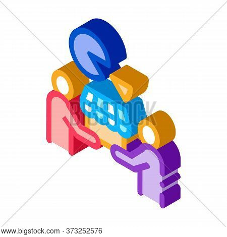 Sold Business Part Icon Vector. Isometric Sold Business Part Sign. Color Isolated Symbol Illustratio