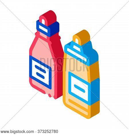 Ketchup And Mayonnaise Sauce Bottles Icon Vector. Isometric Ketchup And Mayonnaise Sauce Bottles Sig