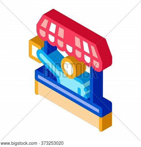 Street Food Seller Icon Vector. Isometric Street Food Seller Sign. Color Isolated Symbol Illustratio
