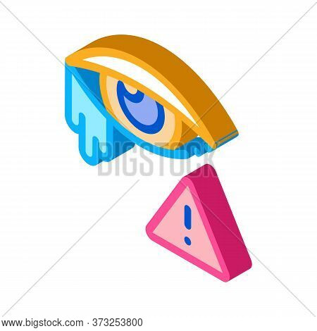 Crying Eye Exclamation Sign Icon Vector. Isometric Crying Eye Exclamation Sign Sign. Color Isolated