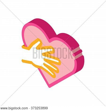 Touch Heart Icon Vector. Isometric Touch Heart Sign. Color Isolated Symbol Illustration