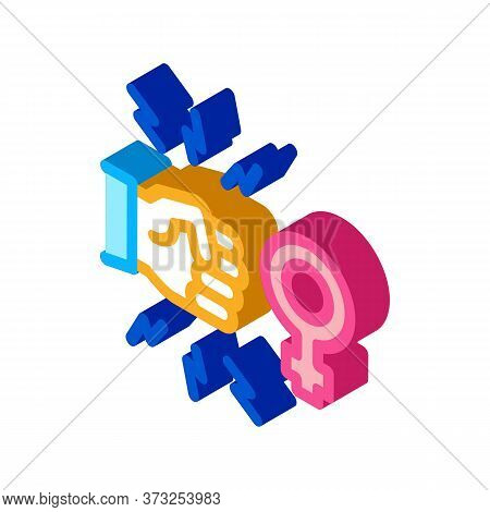 Hit Female Sex Icon Vector. Isometric Hit Female Sex Sign. Color Isolated Symbol Illustration