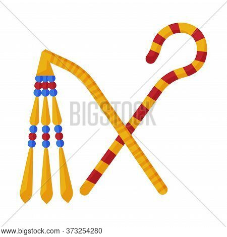 Rod And Whip, Ancient Symbols Of Power Of Pharaohs And Gods In Egypt Flat Style Vector Illustration