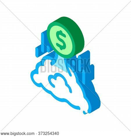 Money Takes Off Icon Vector. Isometric Money Takes Off Sign. Color Isolated Symbol Illustration