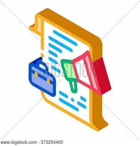 Business Contract Loudspeaker Icon Vector. Isometric Business Contract Loudspeaker Sign. Color Isola