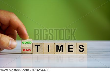 Hand Turn Wooden Cube Block And Changes The Word