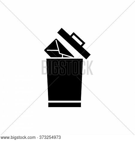 Delete Mail, Remove Email Letter To Trash. Flat Vector Icon Illustration. Simple Black Symbol On Whi