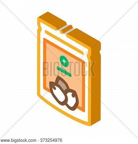 Nut Package Icon Vector. Isometric Nut Package Sign. Color Isolated Symbol Illustration