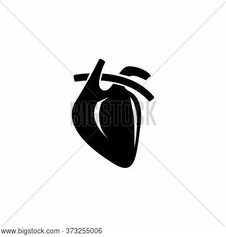 Anatomical Heart, Muscular Humans And Animals Organ. Flat Vector Icon Illustration. Simple Black Sym