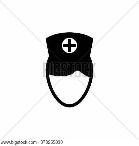 Woman Doctor, Nurse, Medical Assistant. Flat Vector Icon Illustration. Simple Black Symbol On White
