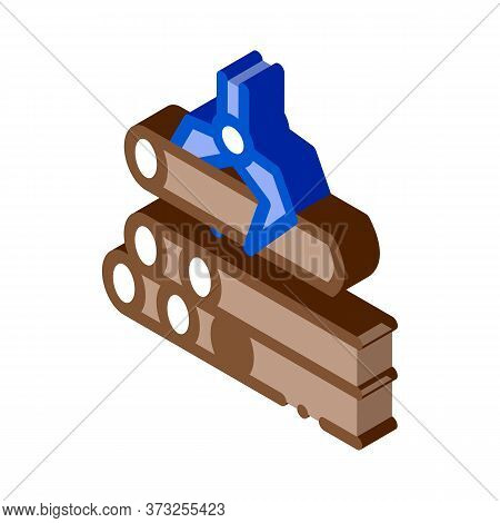 Loading Timber Wood Machine Icon Vector. Isometric Loading Timber Wood Machine Sign. Color Isolated