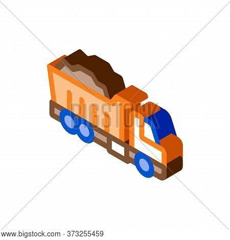 Road Repair Truck Icon Vector. Isometric Road Repair Truck Sign. Color Isolated Symbol Illustration