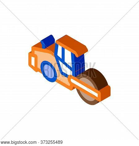 Road Repair Pavering Tractor Icon Vector. Isometric Road Repair Pavering Tractor Sign. Color Isolate