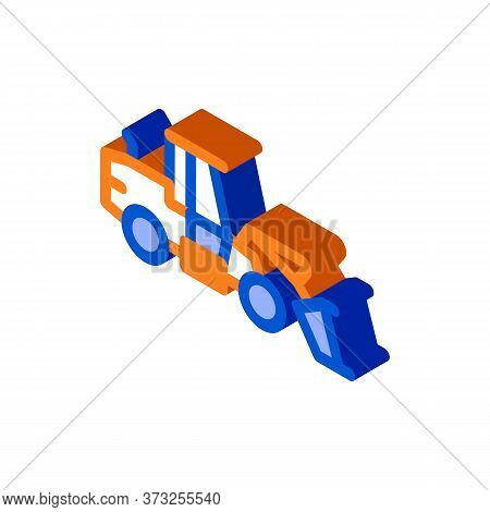 Road Repair Machine Icon Vector. Isometric Road Repair Machine Sign. Color Isolated Symbol Illustrat