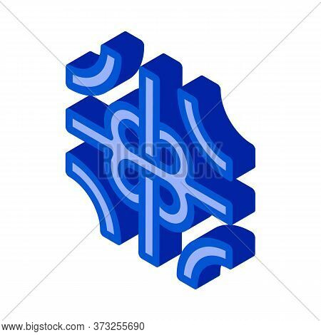 Road Fork Icon Vector. Isometric Road Fork Sign. Color Isolated Symbol Illustration