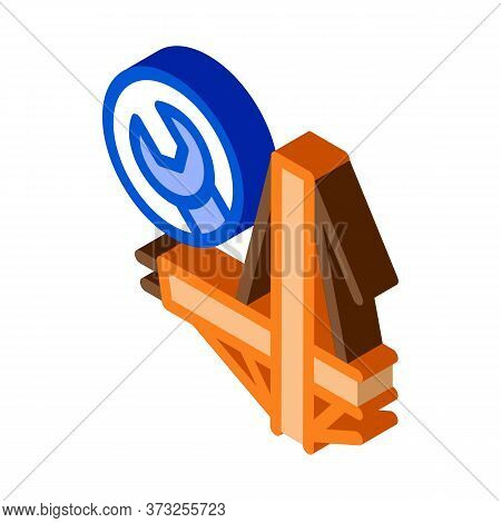 Bridge Repair Icon Vector. Isometric Bridge Repair Sign. Color Isolated Symbol Illustration