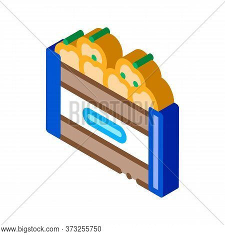 Fruit Box Container Icon Vector. Isometric Fruit Box Container Sign. Color Isolated Symbol Illustrat