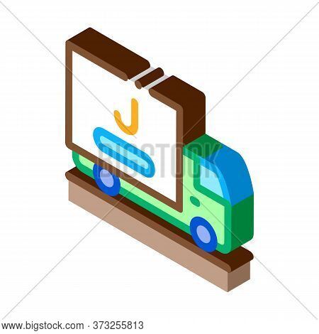 Juice Delivering Truck Icon Vector. Isometric Juice Delivering Truck Sign. Color Isolated Symbol Ill
