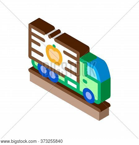 Fruit Delivering Cargo Icon Vector. Isometric Fruit Delivering Cargo Sign. Color Isolated Symbol Ill